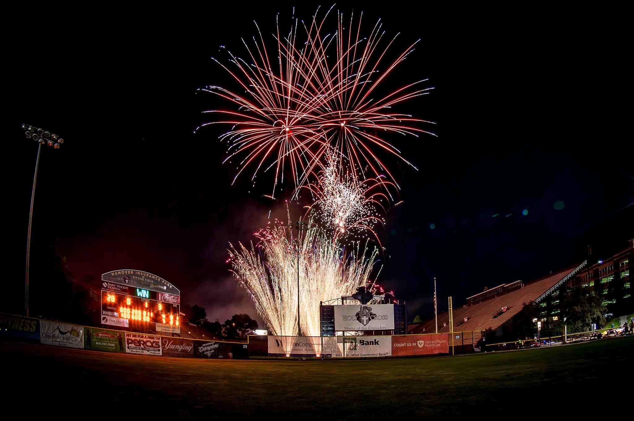 Worcester Bravehearts Baseball Fireworks