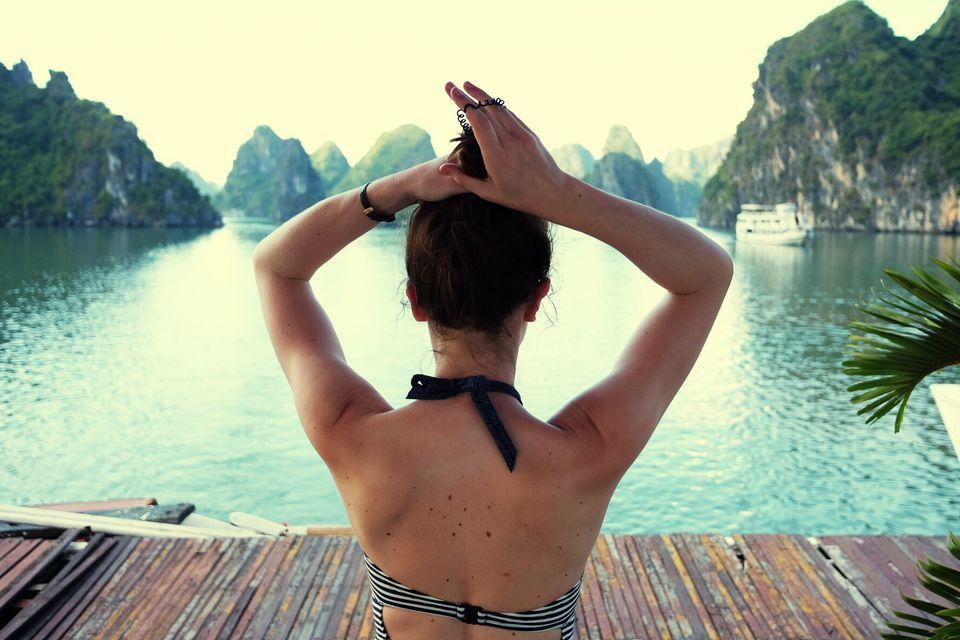 Tourist overlooking Ha Long Bay in Vietnam