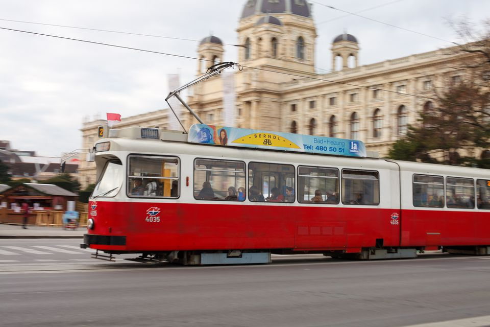 A tram on a street in Vienna, Austria