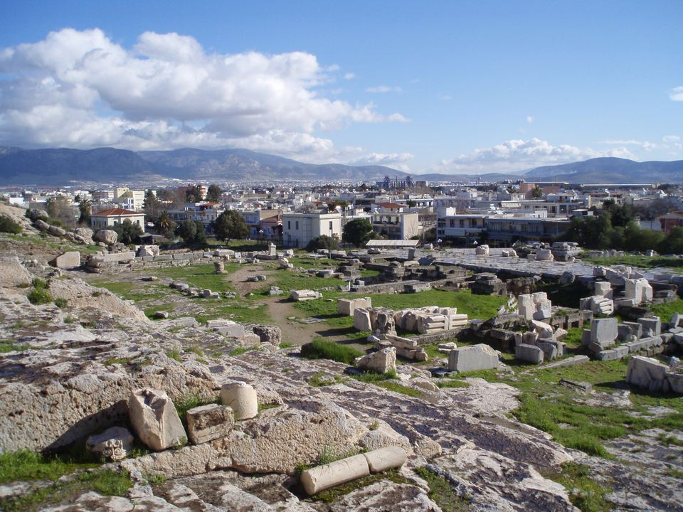 View of the historical site and town at Eleusis, Greece