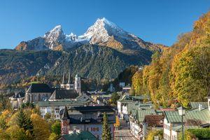 Berchtesgaden in autumn, Bavaria, Germany Europe View to town of Berchtesgaden and Mount Watzmann.