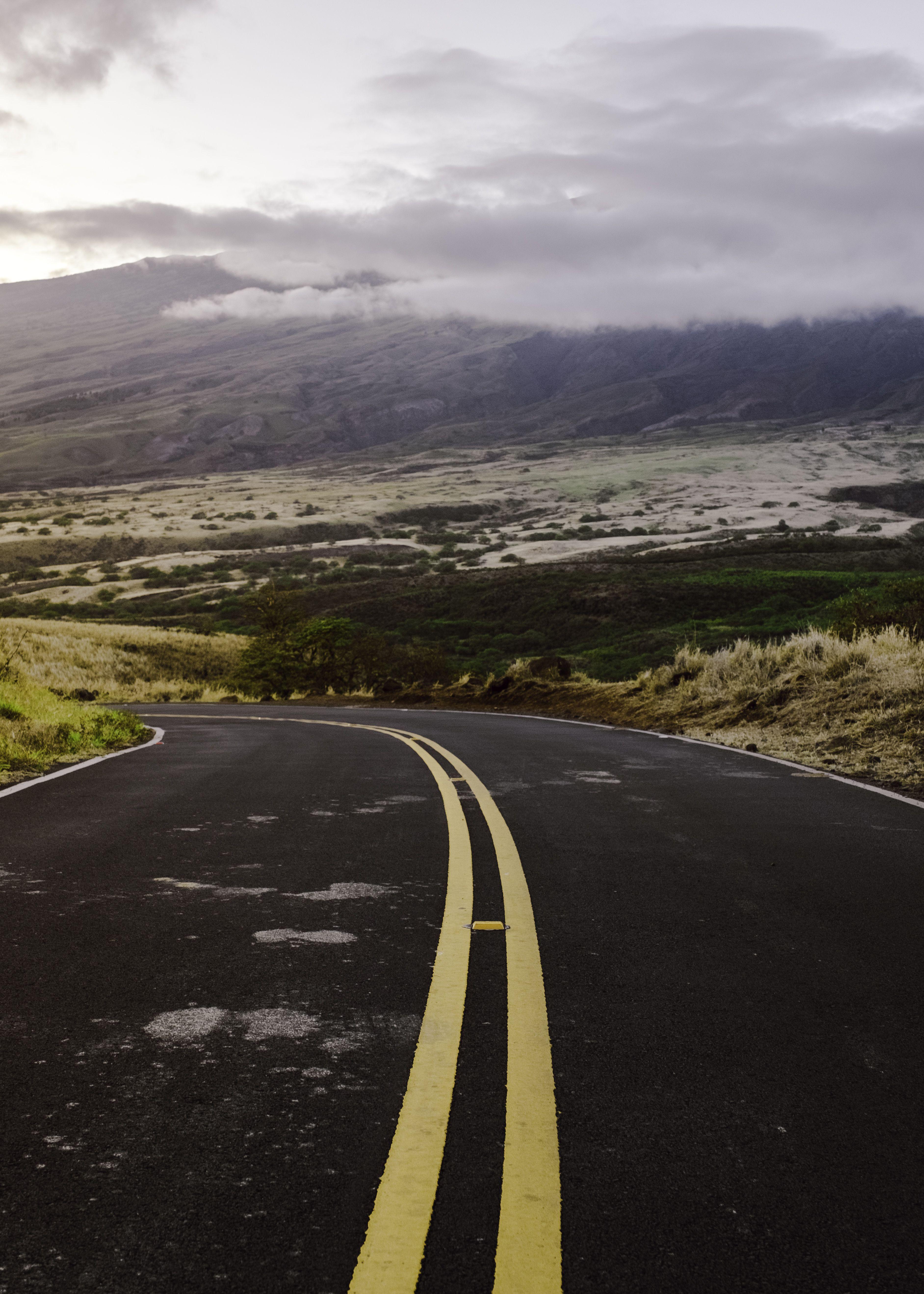 a road through Upcountry Maui