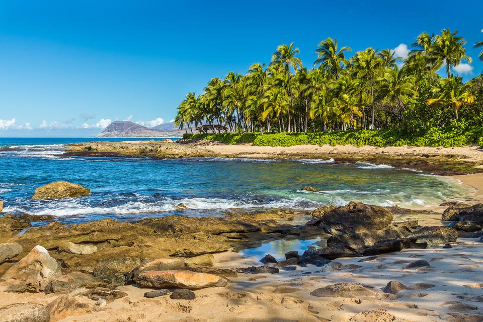 One of the secret beaches near Ko Olina resort on Leeward Oahu, Hawaii