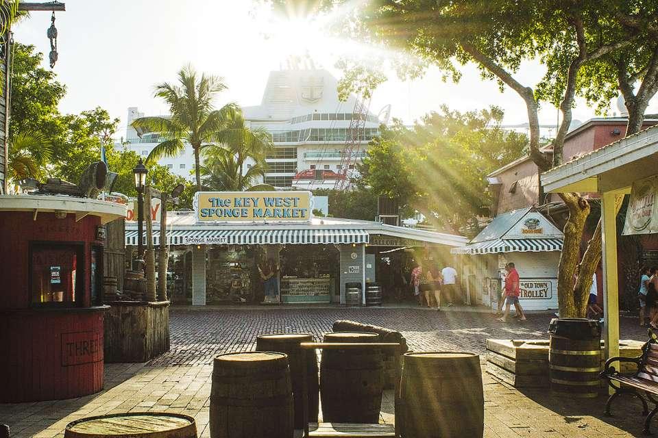 Downtown Key West with souvenir shops