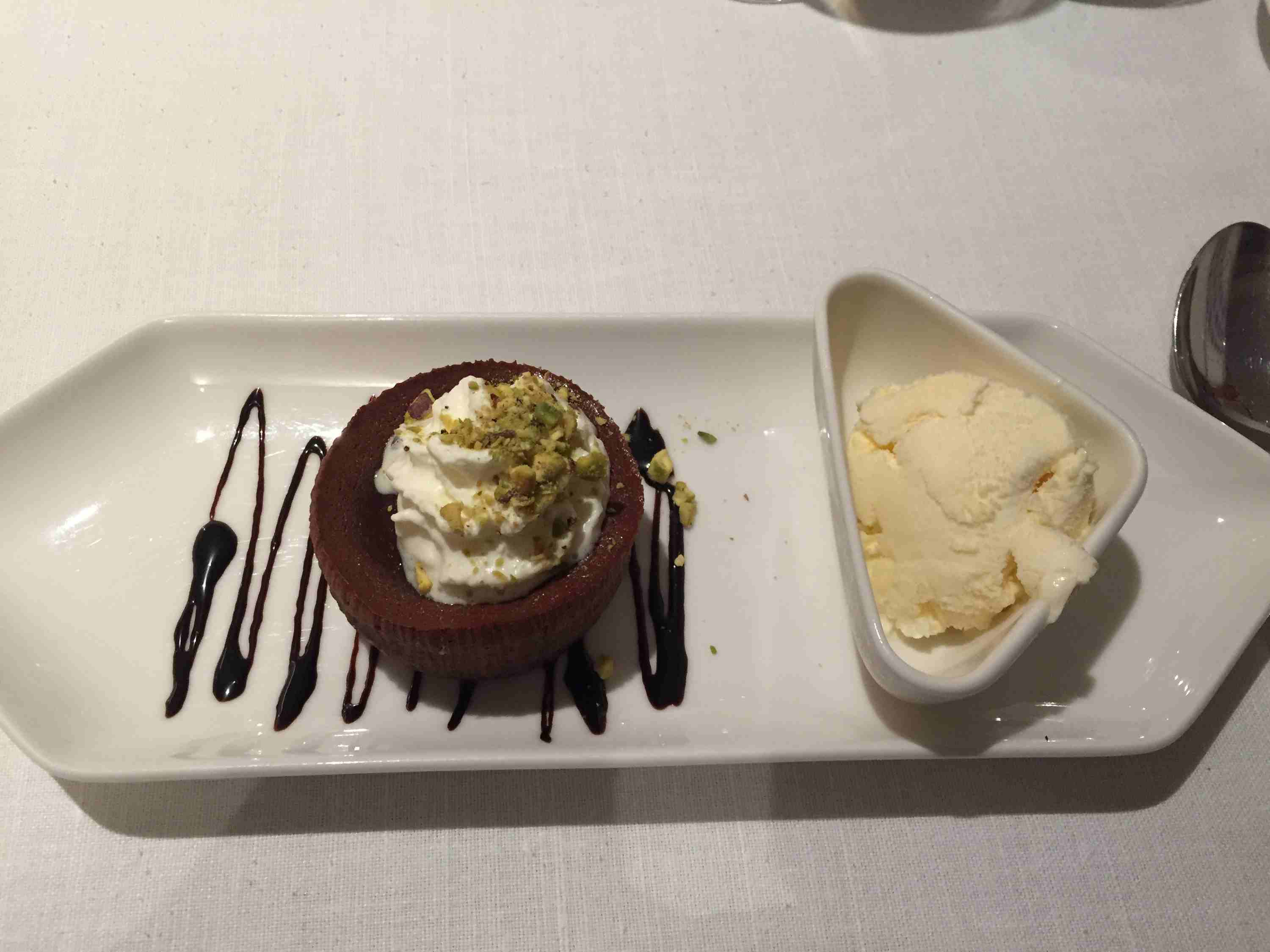 Chocolate souffle with vanilla ice cream on the Viking Astrild river cruise ship