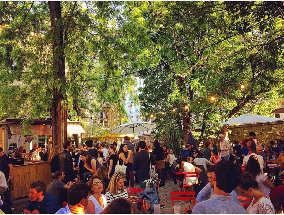 Cafe A in Paris boasts a large garden that's very pleasant in the warmer months