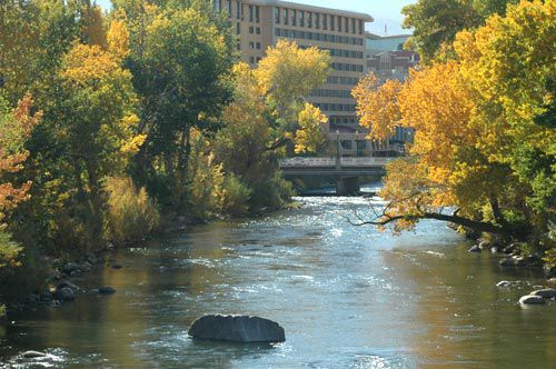 Truckee River fall in downtown Reno, Nevada