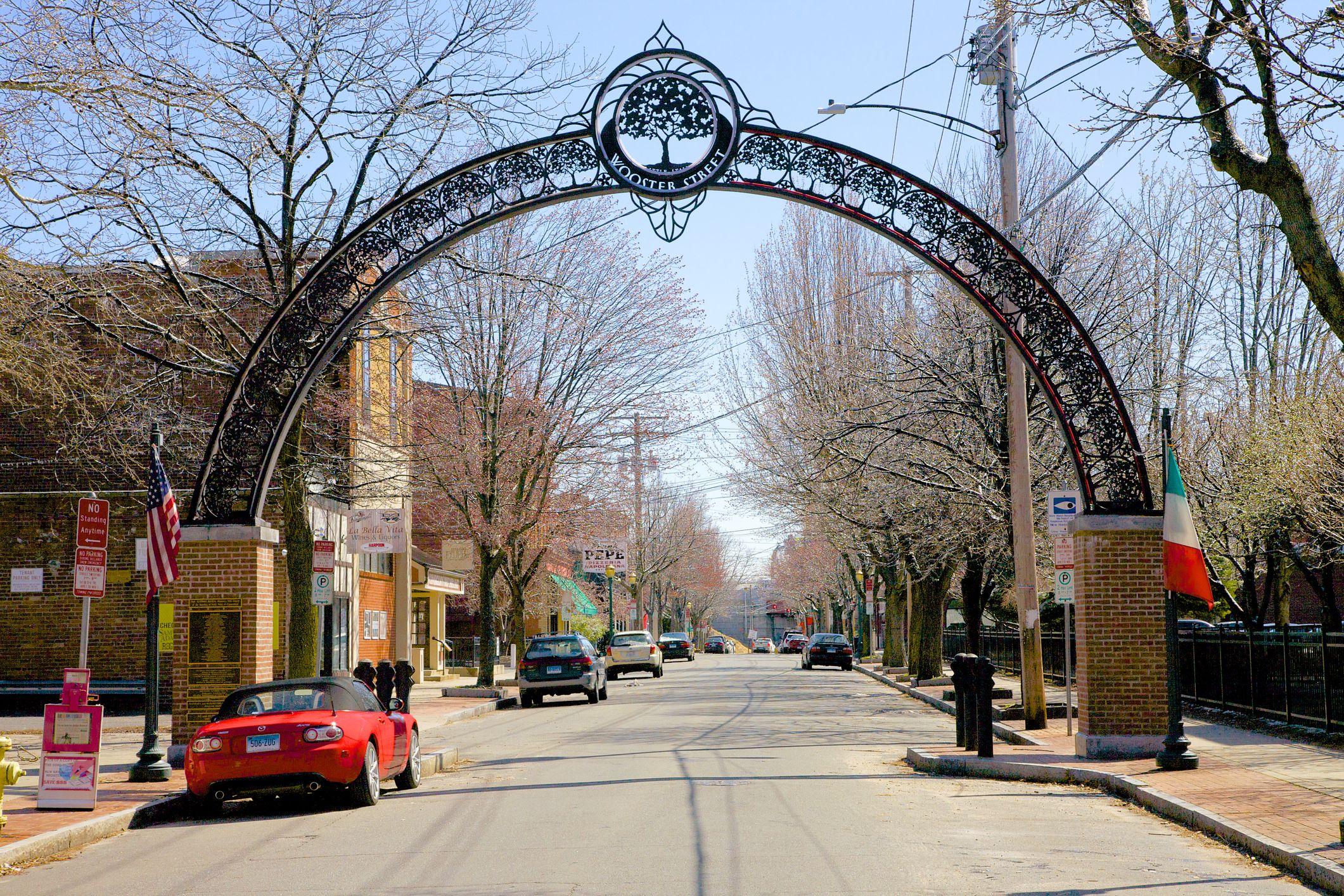 Metal arch in New Haven's Little Italy neighborhood
