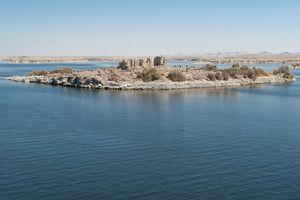 View of Qasr Ibrim citadel ruins on an island in Lake Nasser, Egypt