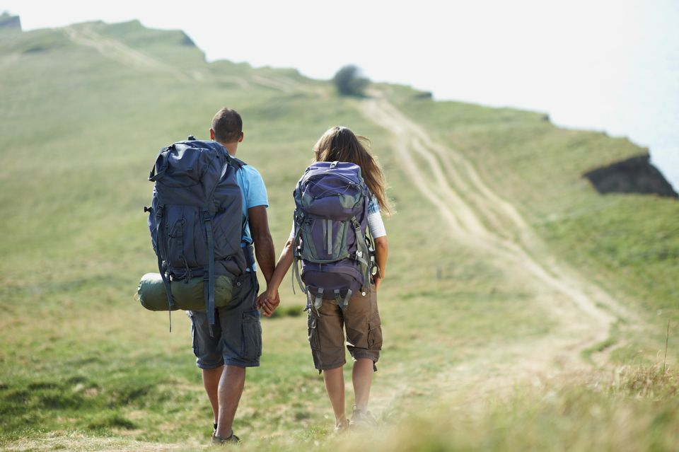 Backpacking couple on a hike