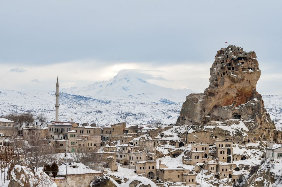 Ortahisar Town and Erciyes Mountain at winter, Cappadocia, Turkey - stock photo