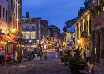 Saint Paul Street in Montreal at night