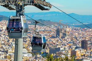 View of the cable car going above the Barcelona skyline
