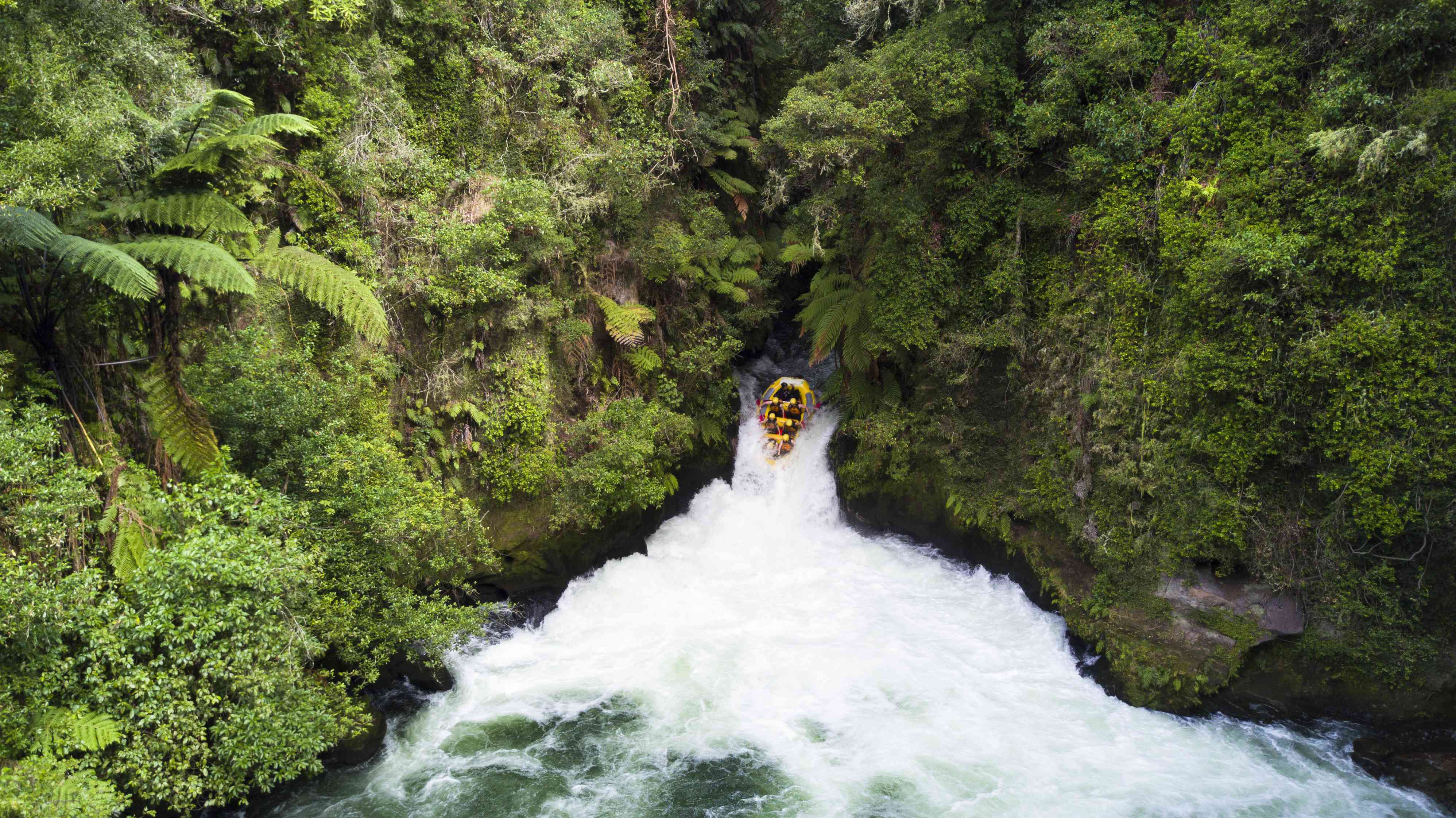 raft rushing down a waterfall surrounded by forested cliffs