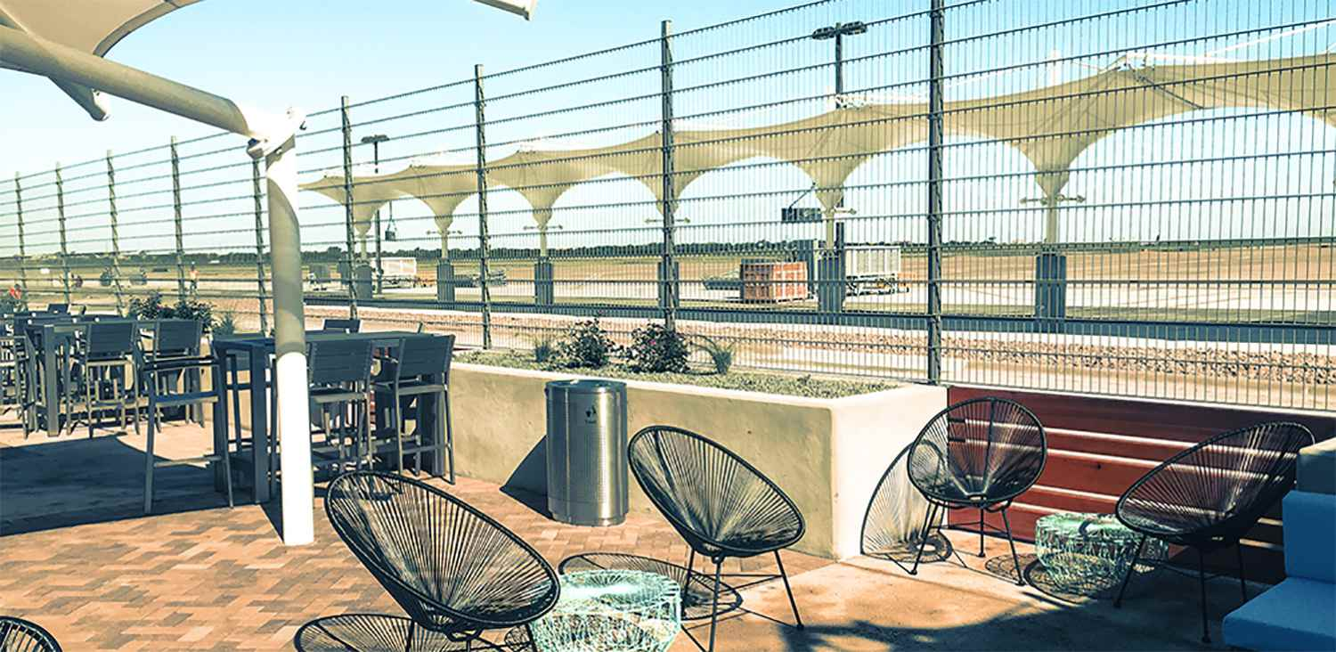 The South Terminal outdoor seating area at Austin-Bergstrom International Airport.