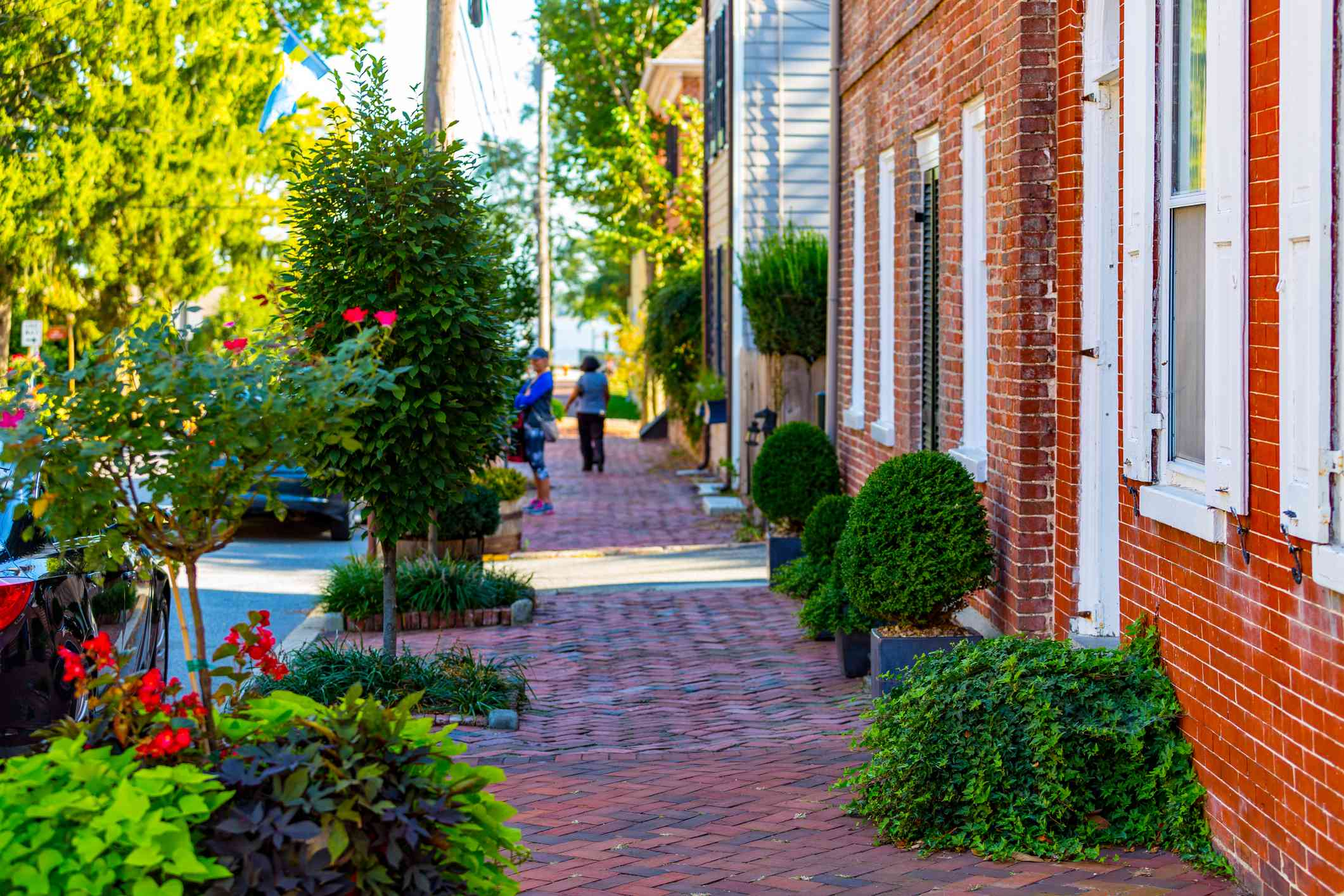 Brick sidewalks with colorful foliage in the historic district of New Castle.