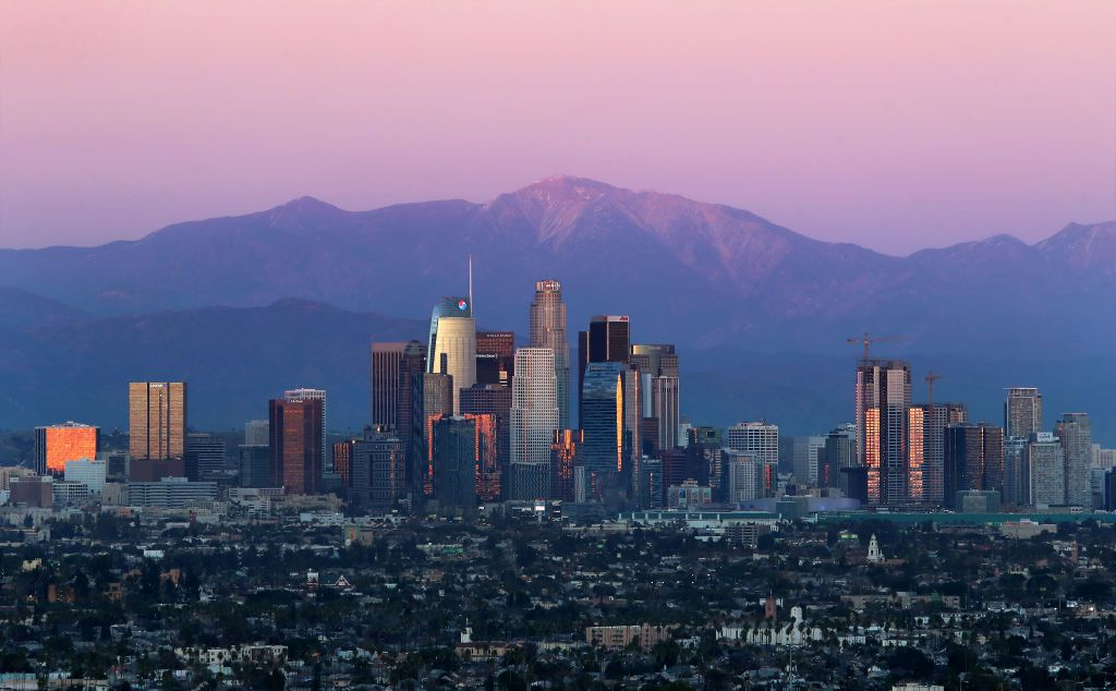 A bird's-eye view of downtown Los Angeles