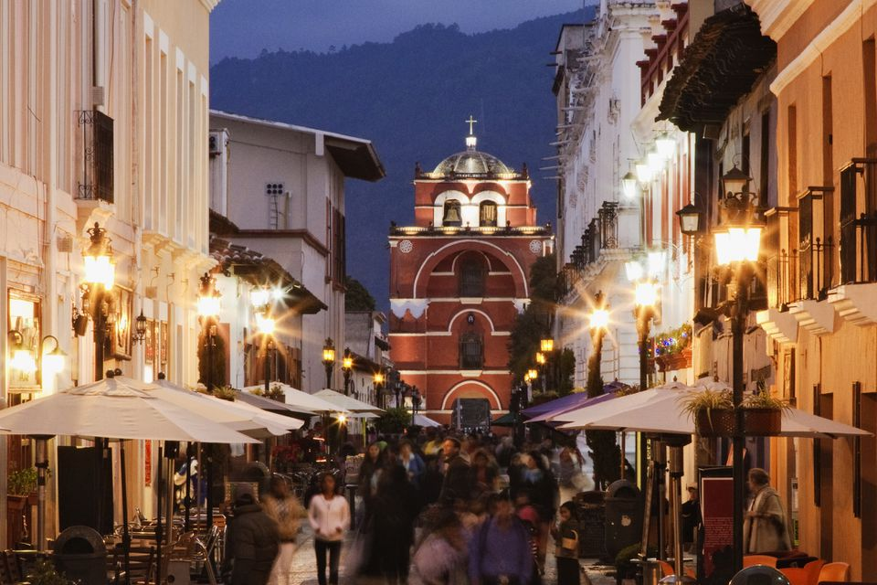 Tourists walking on San Cristobal de las Casas street, Chiapas, Mexico