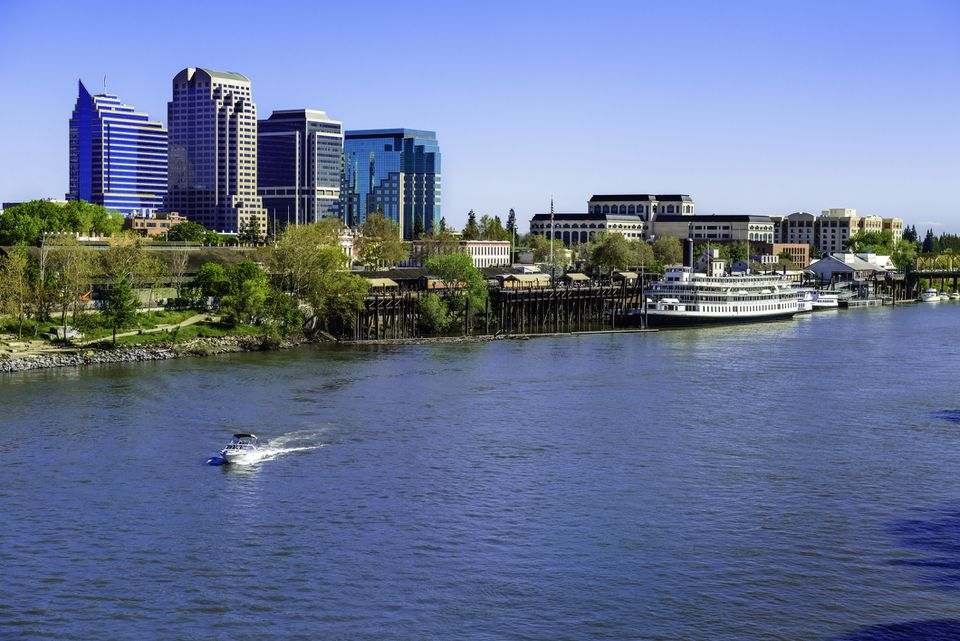 Sacramento River, riverfront and downtown skyline