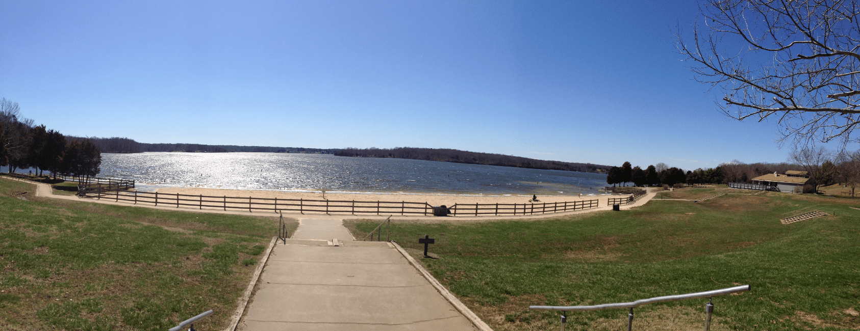 The swimming beach at Lake Anna State Park in Virginia, USA