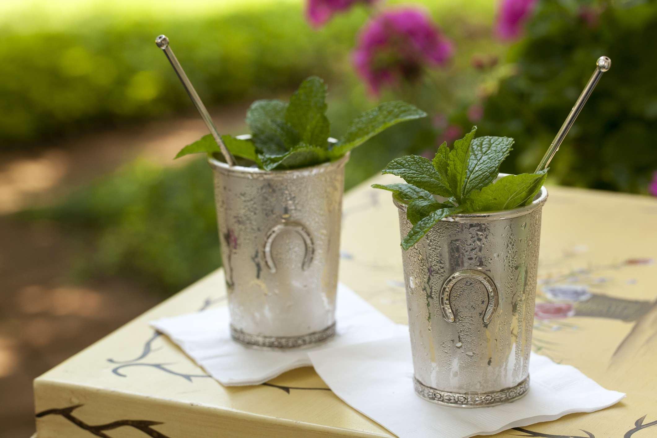 Mint julep in Kentucky Derby style cup