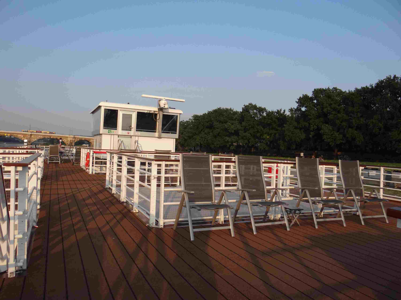 Sun deck and navigation bridge on the Viking Elbe River cruise ships