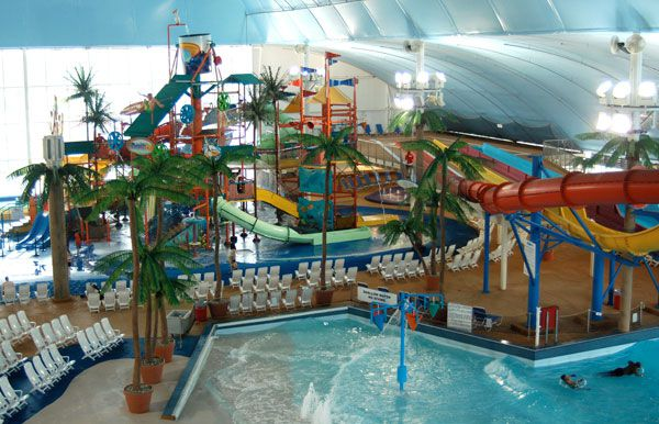 The Fallsview Indoor Waterpark, in Niagara Falls, Canada, is open to the public year-round.