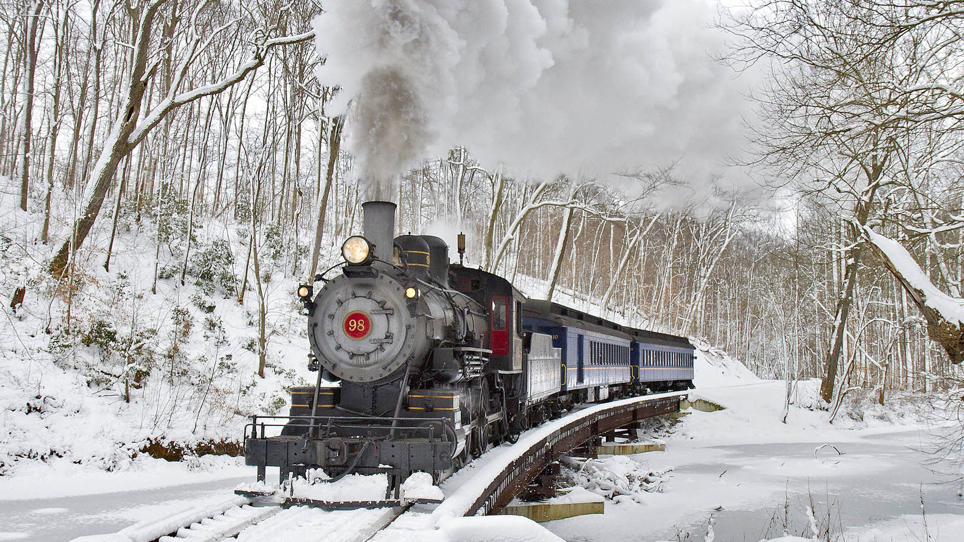 Winter train ride on The Wilmington and Western Railroad