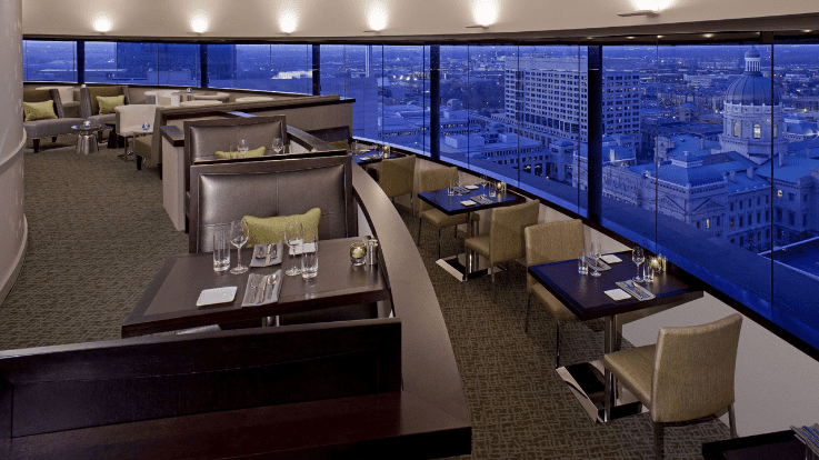 Perched Atop The Hyatt Regency Downtown This Restaurant Is All About Atmosphere Eagle S Nest Slowly Rotates To Give Patrons A 360 Degree View Of