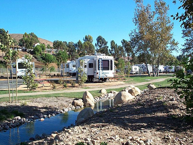 Santee Lakes Campground New Sites by stream