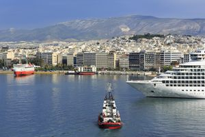 Ferries at port in Athens.