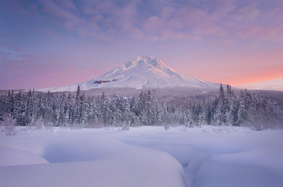 Winter sunrise over Oregon's Mount Hood.
