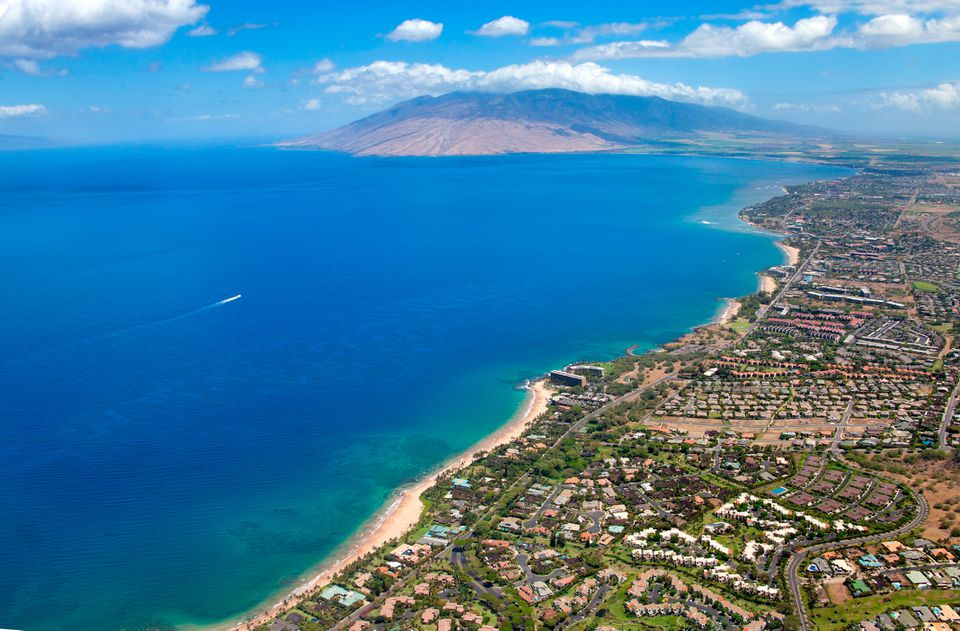 Maui Coastline aerial view from above Wailea Maui, Hawaii.