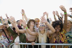 Group of people on the rails at a music festival