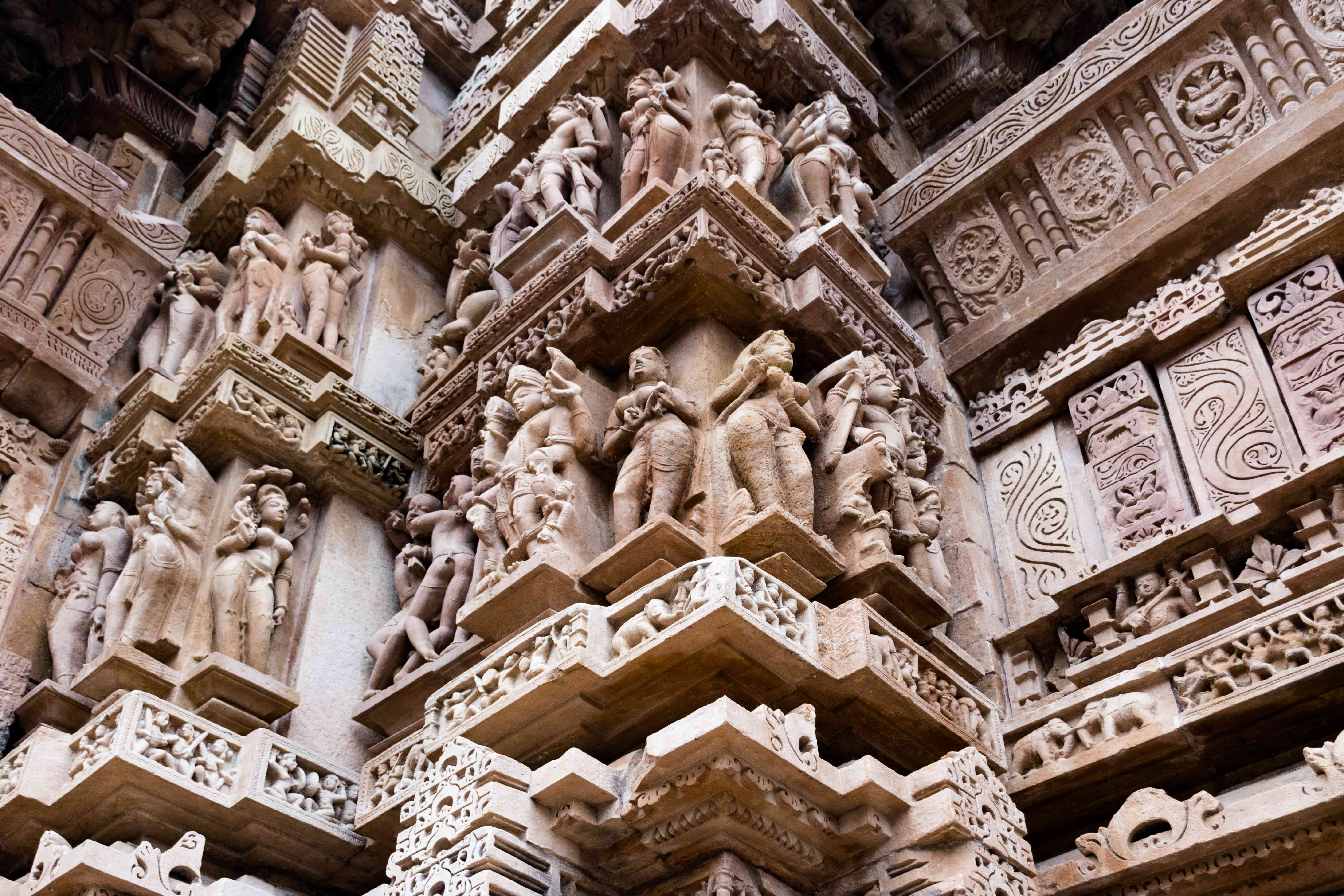 Intricate carvings inside the Khajuraho Temples