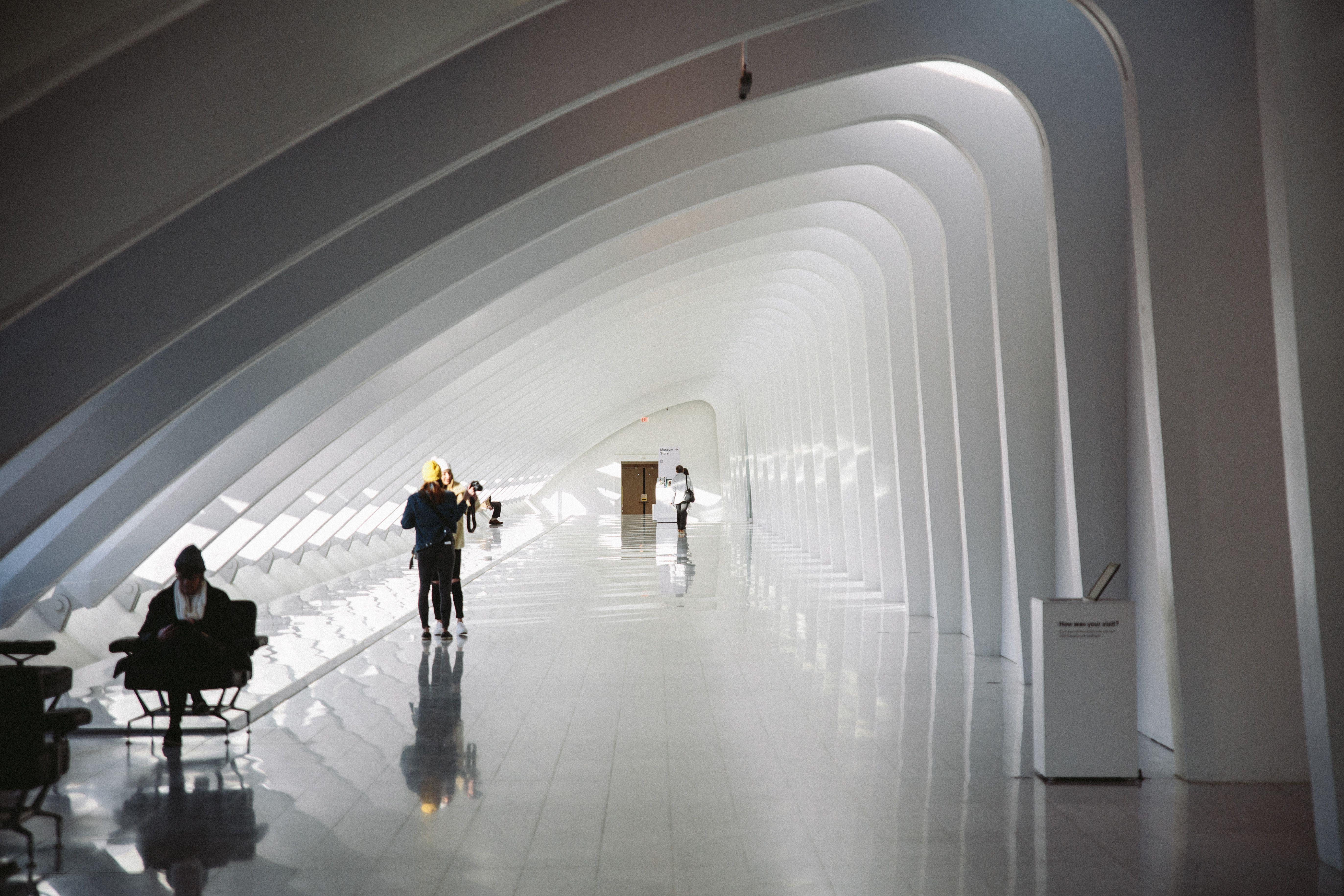 Interior architecturally designed hallway in the Milwaukee Art Museum