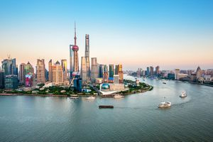 Aerial view of Lujiazui Financial District at dusk, Pudong, Shanghai, China.