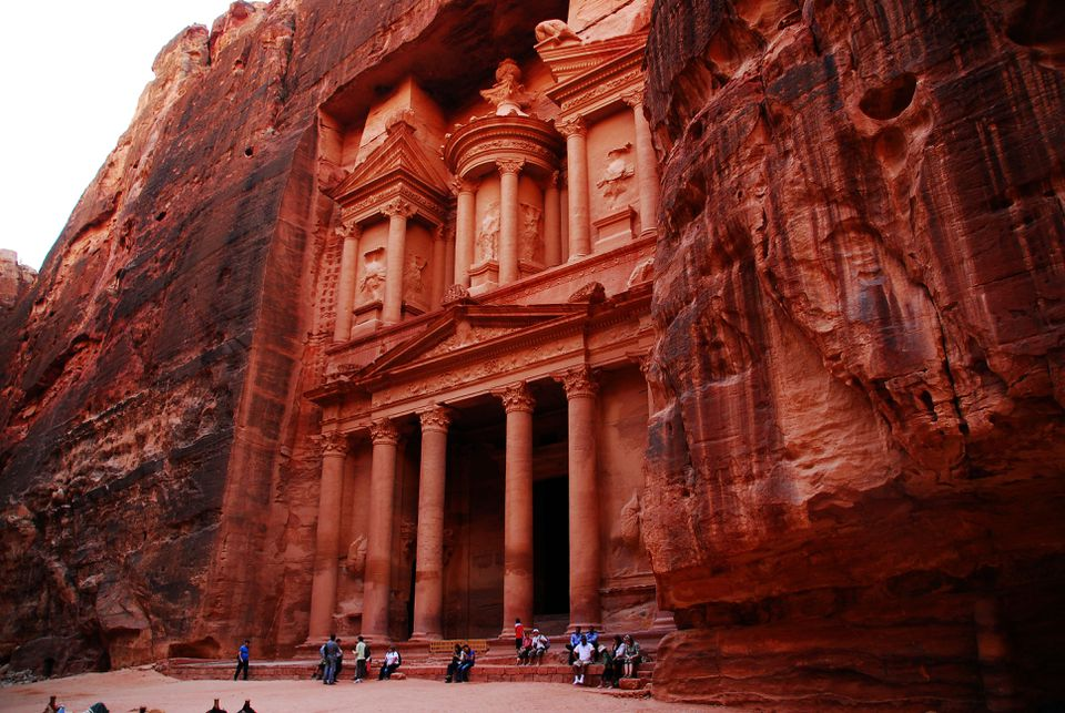 Wide shot of the entrance of the temple in Petra