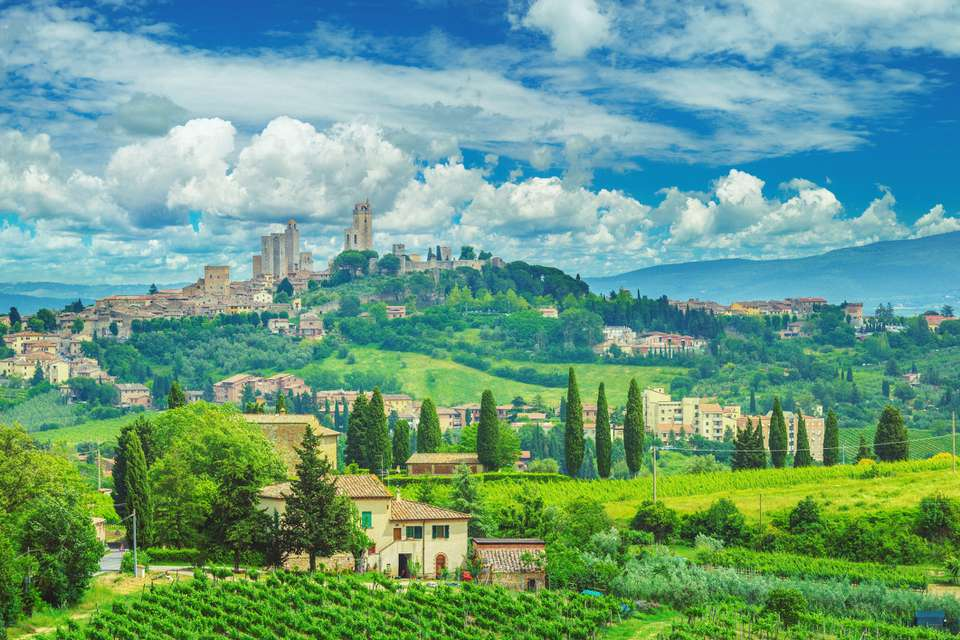 San Gimignano in Tuscany and the italian countryside