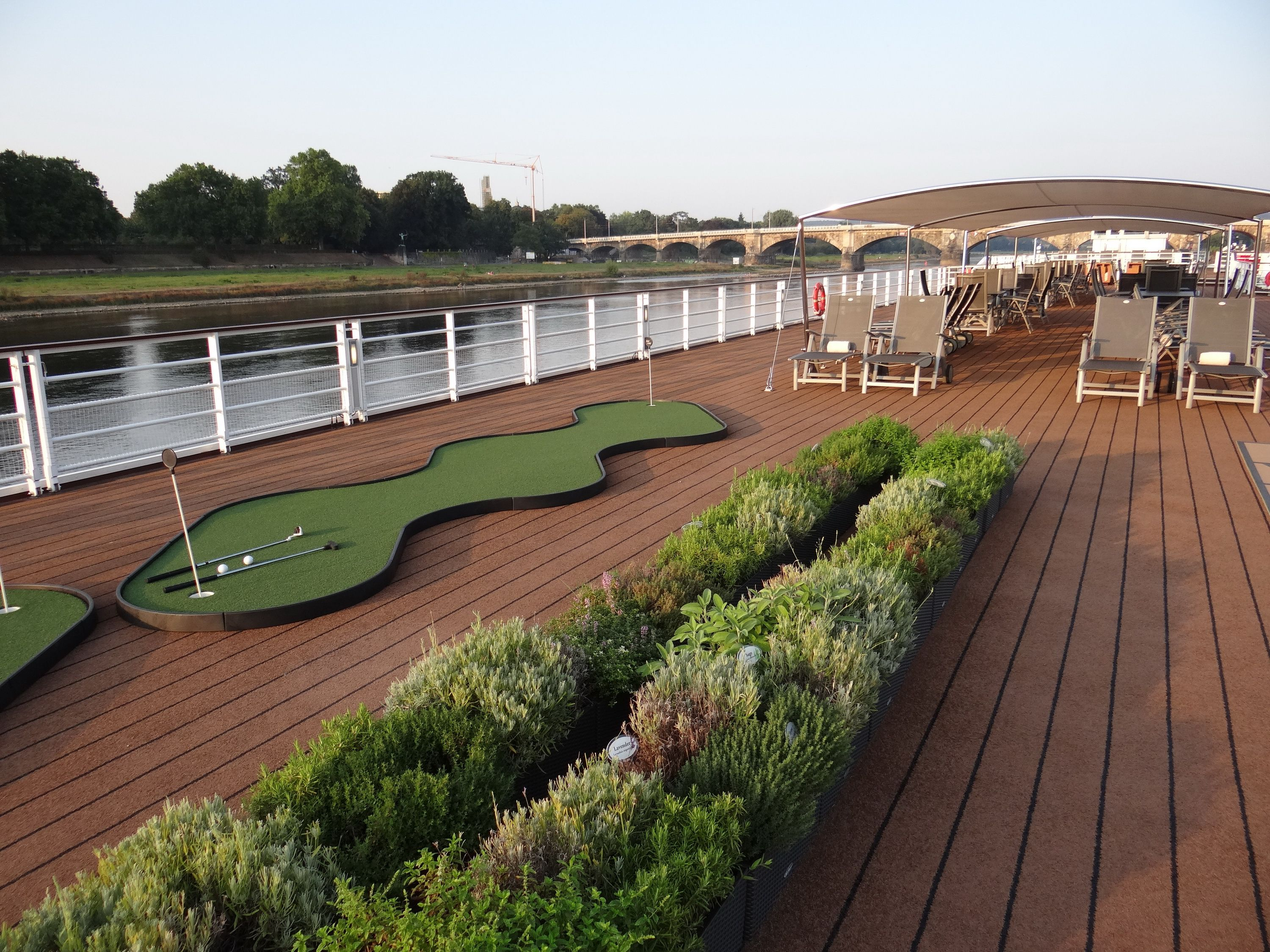 Herb garden and putting green on the Viking Elbe River cruise ships