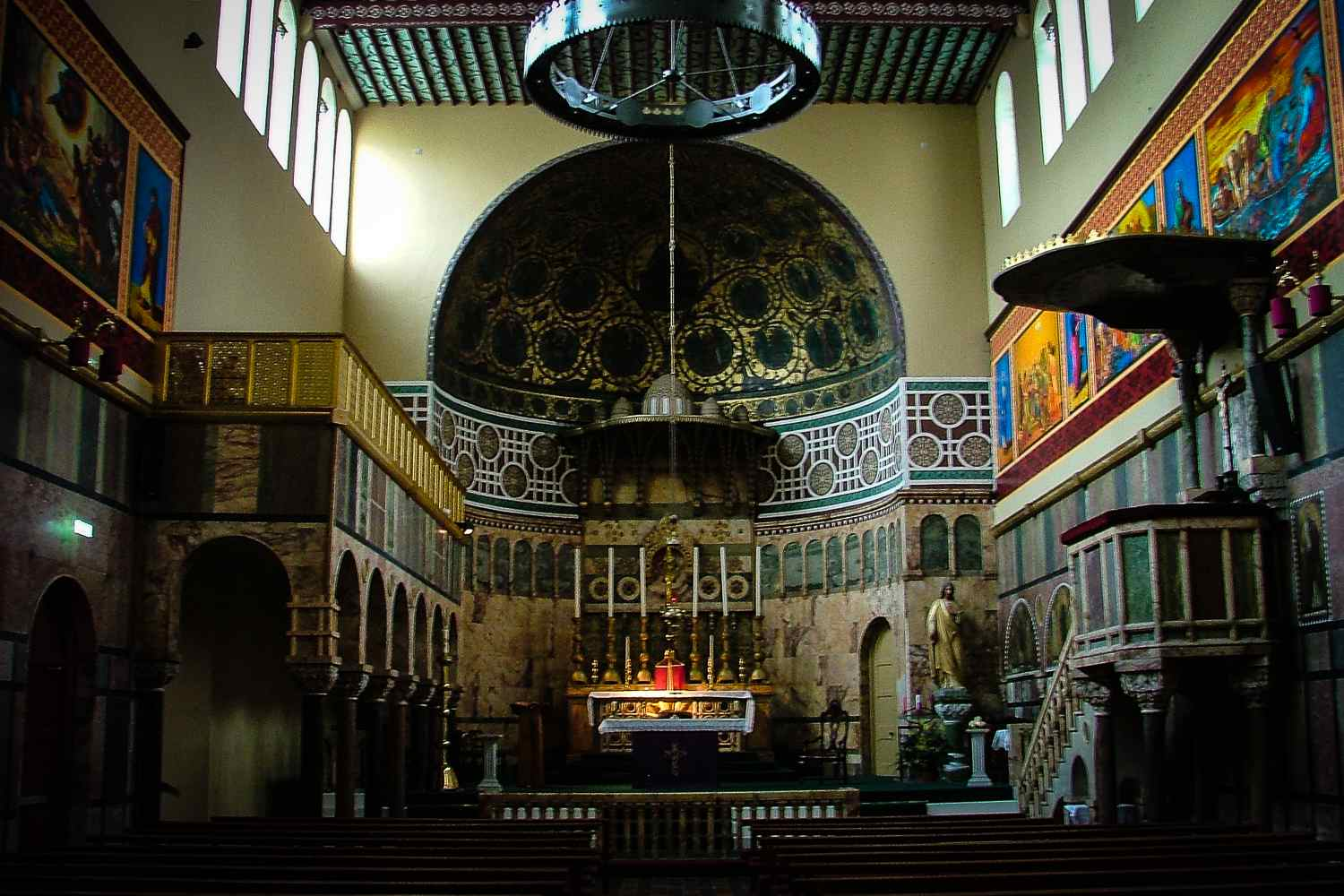 The colorful interior of University Church