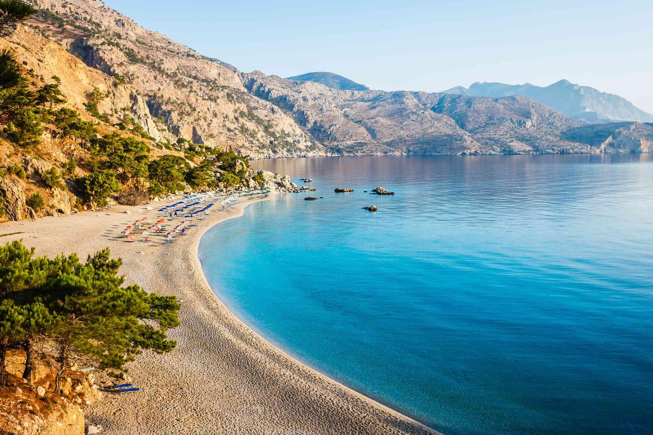 Idyllic beach Apella, Karpathos island, Greece