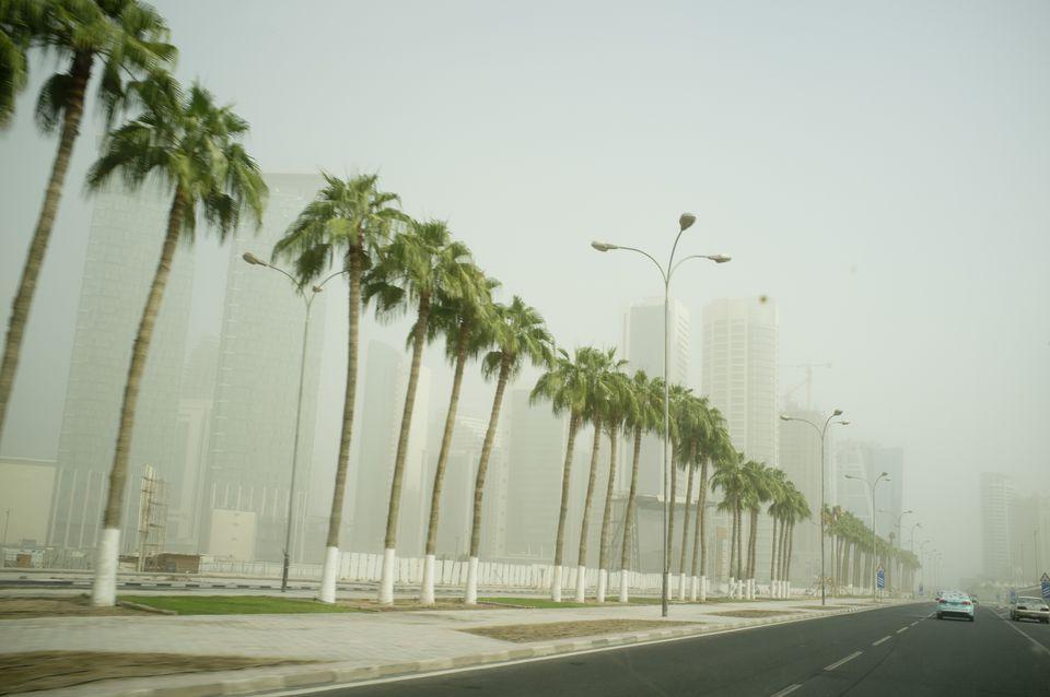 Tormenta de arena en Doha Qatar
