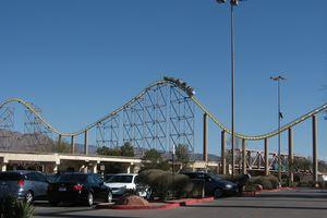 Desperado roller coaster hills seen from parking lot