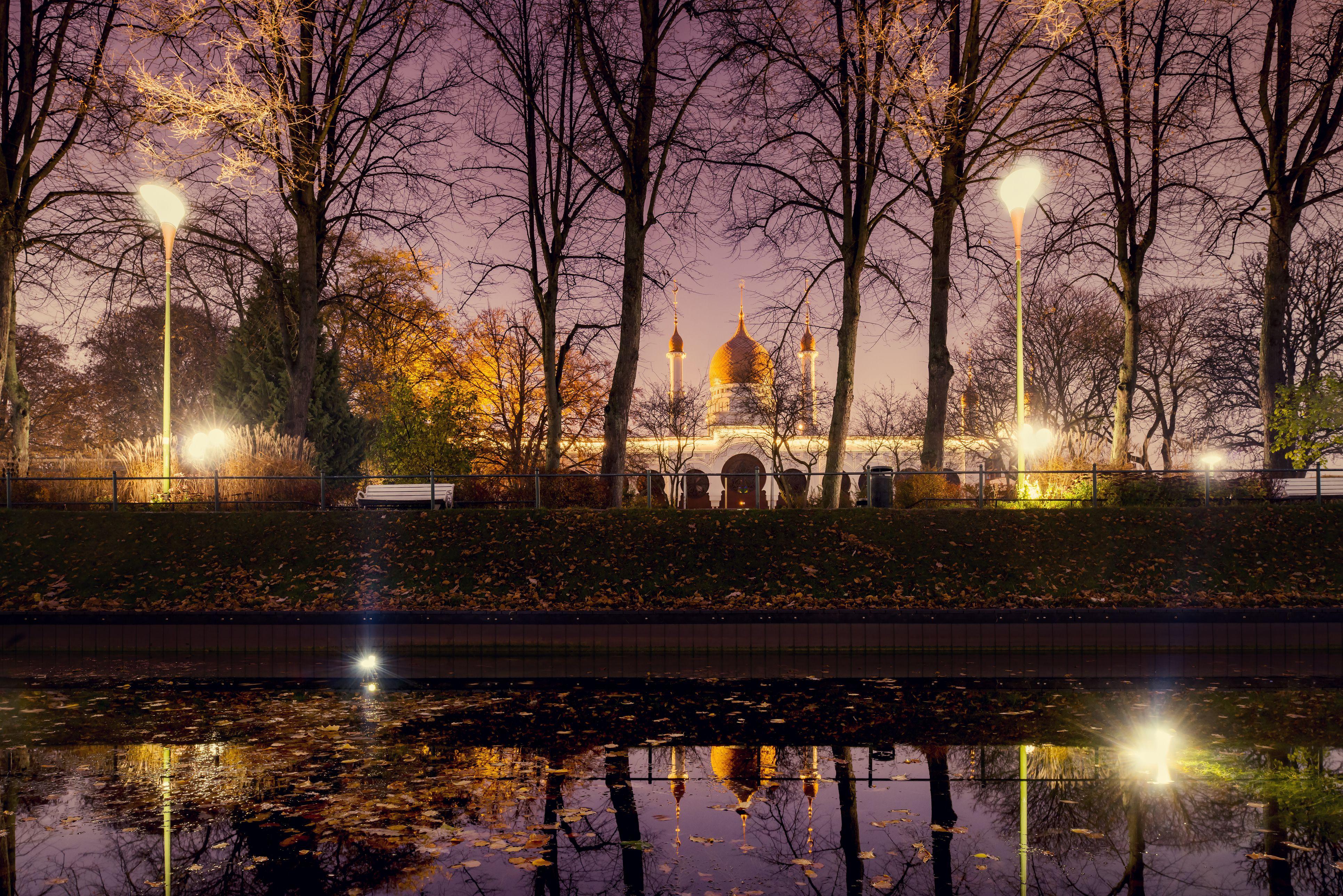 'Sweden, Skane, Malmo, Moriska Paviljongen or Morrish Pavilion in Folkets park at night'