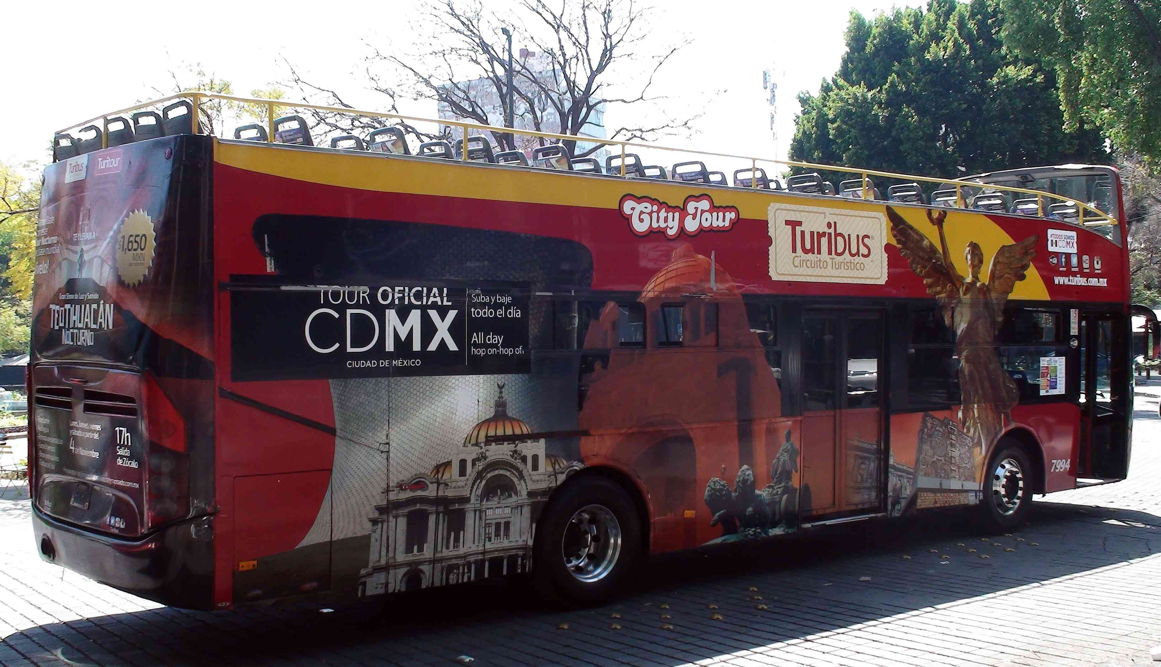 Mexico City Double Decker Sightseeing Bus Scene In Mexico