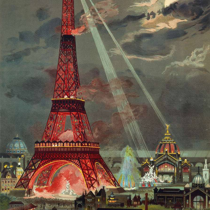 A depiction of the Eiffel Tower at the Exposition Universelle of 1889