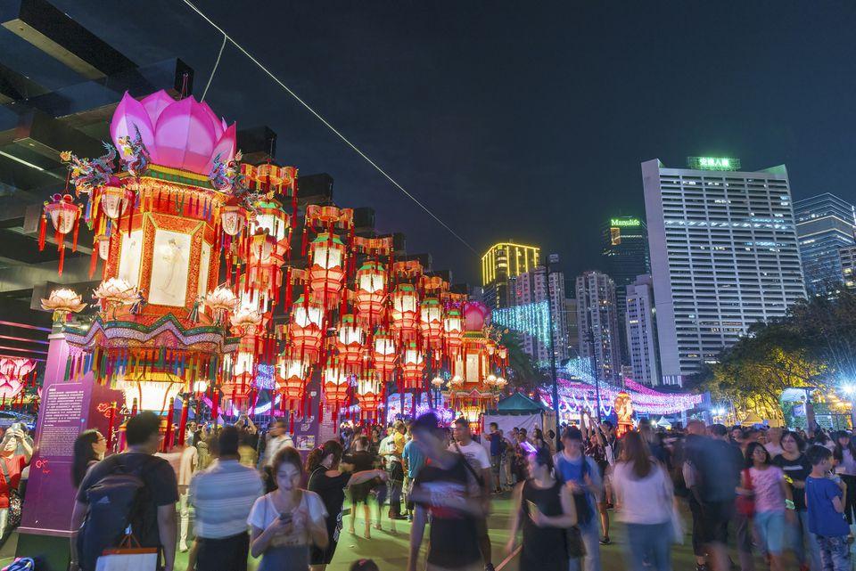 Carnaval de linternas durante el Festival del Medio Otoño, Hong Kong