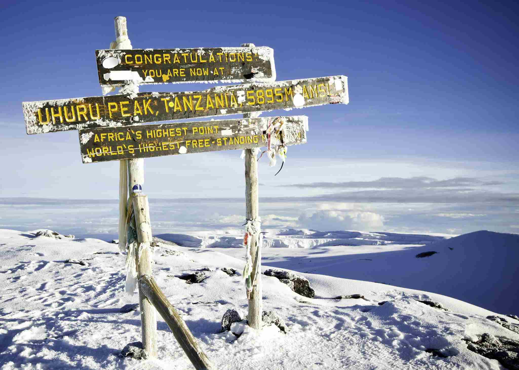 The sign at the summit of Kilimanjaro in Tanzania