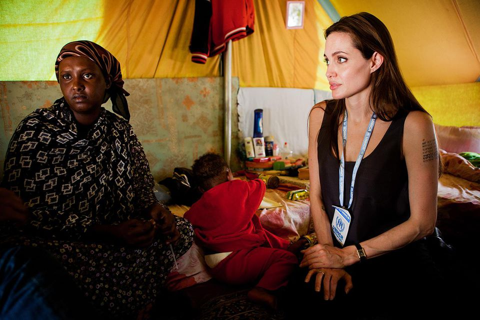 Angelina Jolie with Somali Refugees in Tunisia